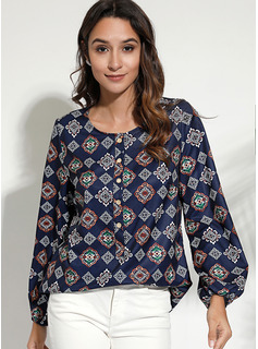 Stampa Scollatura a V Maniche lunghe Casuale Shirt and Blouses