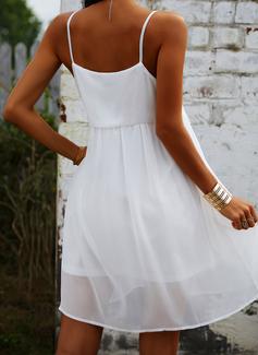 кружевной твердый Прямые платья безрукавный Мини Маленький черный Повседневная сексуальный отпуск Тип Модные платья