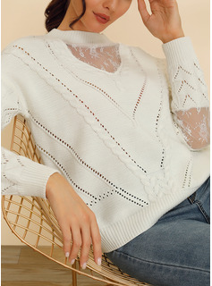 Girocollo Marinaio Casuale Patchwork Solido Cavo Knit Maglioni