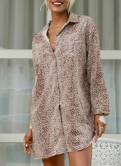 ヒョウ 印刷 シフトドレス 3/4袖 ミニ カジュアル 休暇 シャツワンピース ファッションドレス