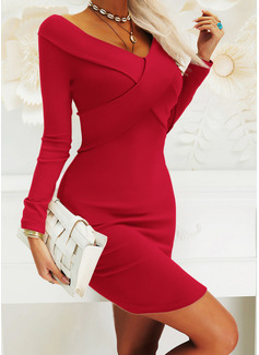 固体 ボディコンドレス 長袖 ミディ リトルブラックドレス エレガント ペンシル ファッションドレス