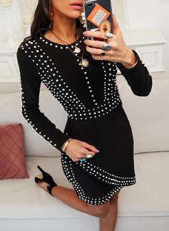 Solid Perlebrodering Bodycon Lange ærmer Mini Den lille sorte Elegant Mode kjoler