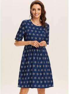 Over Knee rund hals Polyester Print Korte ærmer Mode kjoler
