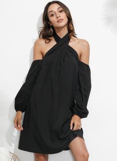 Nad kolanem Wiązane na szyi Poliester Jednolity Długie rękawy/Odkryte ramię Modne Suknie