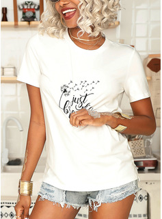 Print Korte ærmer Bomuld Polyester rund hals T-shirt Bluser