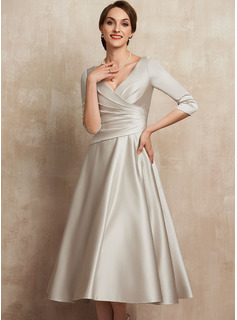 A-Line V-neck Tea-Length Satin Cocktail Dress With Ruffle