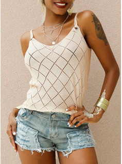 Solid Sleeveless Polyester Strap Tank Tops Blouses