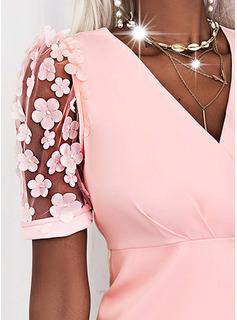 Floral Sólido Ajustado Manga Corta Mini Elegante Vestidos de moda