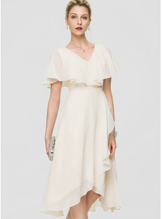 A-Line V-neck Asymmetrical Chiffon Wedding Dress With Bow(s) Cascading Ruffles