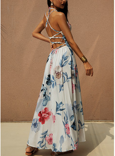 Floral Print A-line Sleeveless Maxi Sexy Vacation Type Dresses