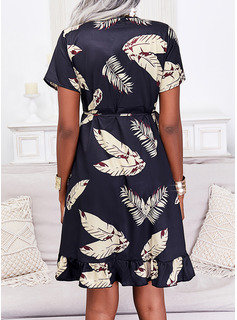 Print Kjole med A-linje Korte ærmer Midi Casual skater Wrap Mode kjoler