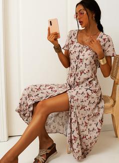 Blumen Druck Etui Kurze Ärmel Midi Lässige Kleidung Urlaub Modekleider