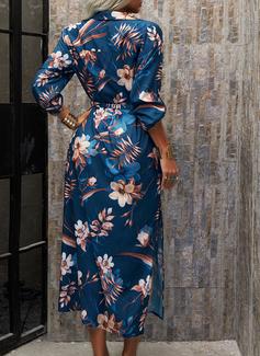 Blomster Print Kjole med A-linje 3/4 ærmer Maxi Casual Ferie Skjorte skater Mode kjoler