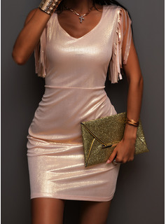Solid Bodycon Short Sleeves Mini Party Dresses