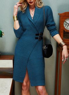Revers Lässige Kleidung Lange Einfarbig Pullover