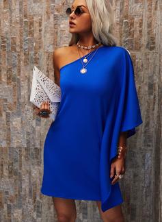 Jednolity Suknie shift Długie rękawy Mini Nieformalny Modne Suknie