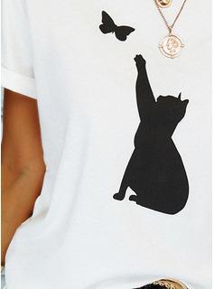 Animaliska Tryck Rund-ringning Korta ärmar Fritids t-shirt