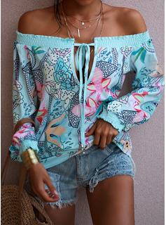 Floral Print Off the Shoulder Long Sleeves Casual