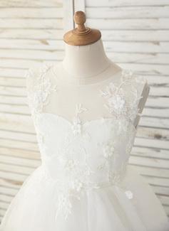 Aライン 非対称 フラワーガールのドレス - チュール/レース 袖なし スクープネック