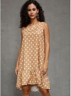 knælange rund hals Polyester Flæsekanter/Polka prik Uden Ærmer Mode kjoler