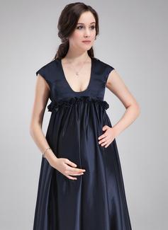 Robe Empire Col rond Balayage/Pinceau train Charmeuse Robe de demoiselle d'honneur - enceinte avec Plissé