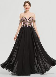 A-Line Off-the-Shoulder Floor-Length Chiffon Prom Dresses