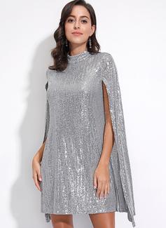 Sequins Shift Long Sleeves Split Sleeve Midi Party Elegant Tunic Dresses