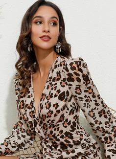 Leopard V-ringning Långa ärmar Puffärmar Mini Modeklänningar