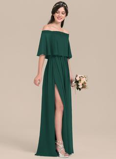 A-Line/Princess Off-the-Shoulder Floor-Length Chiffon Bridesmaid Dress With Split Front