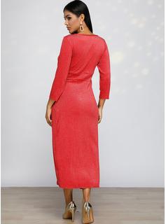pailletter Skede Lange ærmer Midi Casual Mode kjoler