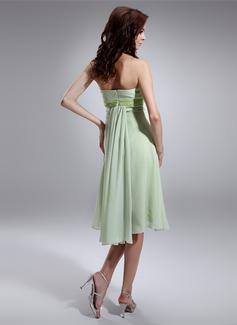 Empire Strapless Knee-Length Chiffon Maternity Bridesmaid Dress With Ruffle Beading Sequins