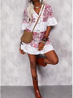 Print Shift 1/2 Sleeves Mini Boho Casual Tunic Dresses