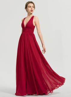 A-Line V-neck Floor-Length Chiffon Prom Dresses With Ruffle