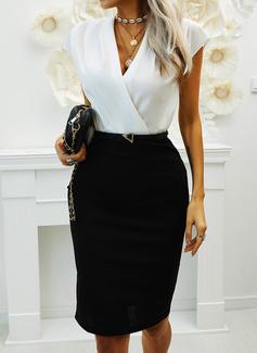 Blocchi di colore Aderente Maniche corte Midi Casuale Elegante Matita Vestiti di moda