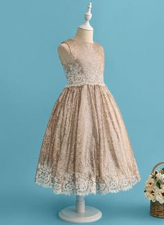 Robe Marquise/Princesse Longueur mollet Robes à Fleurs pour Filles - Dentelle/Pailleté Sans manches Col rond