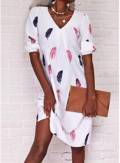 Print Skiftekjoler 3/4 ærmer Midi Casual Tunika Mode kjoler
