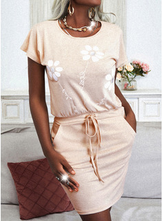 Floral Print Bodycon Short Sleeves Mini Casual Dresses