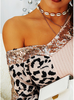 V-Neck Casual Sequins Leopard Color Block Sweaters