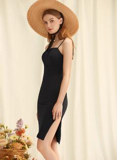 Etui-Linie Rechteckiger Ausschnitt Knielang Jersey Jersey Modekleider