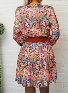 Impresión Vestido línea A Manga Larga Mini Boho Casual Vacaciones Patinador Vestidos de moda