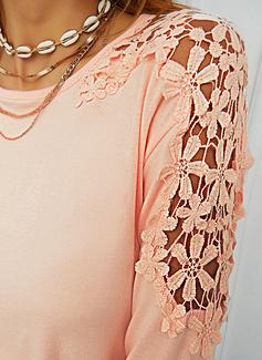 Floral Encaje Sólido Cuello Redondo Manga Larga Casual Blusas