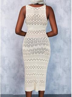 Solid Sheath Sleeveless Midi Casual Dresses
