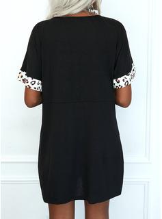 Leopard Color Block Shift Short Sleeves Mini Casual T-shirt Dresses