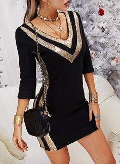 Color Block pailletter Bodycon Lange ærmer Mini Elegant Mode kjoler