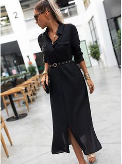 Einfarbig A-Linien-Kleid Lange Ärmel Maxi Kleine Schwarze Hemdkleider Modekleider