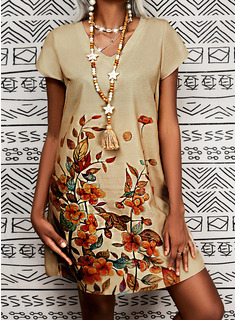 Floral Impresión Vestidos sueltos Manga Corta Midi Casual camiseta Vestidos de moda