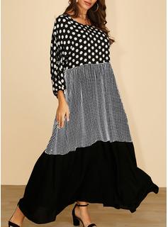Niejednolita całość W kratę Groszki Suknie shift Rękawy 3/4 Maxi Nieformalny Modne Suknie