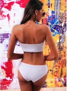 Bikinis poliéster Del spandex Color sólido Estrapless De mujer Sí Ropa de baño