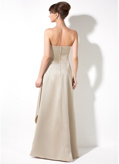 A-Line/Princess Strapless Floor-Length Satin Bridesmaid Dress With Ruffle Beading Sequins