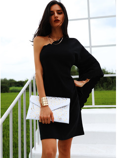 Solid Shift Batwing Sleeves Long Sleeves Mini Little Black Party Tunic Dresses